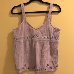 Blue Sky Hippie Boho Tank Top Embroidered Floral